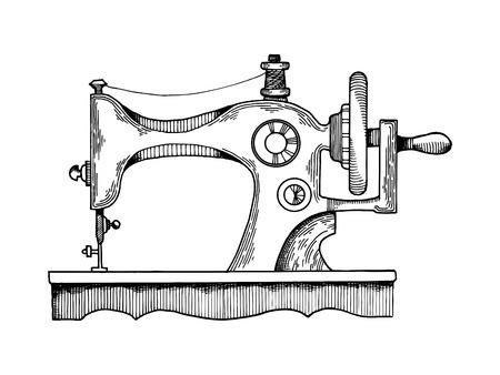 Ilustracja wektorowa maszyny do szycia. Imitacja stylu deski. Ręcznie rysowane obraz.