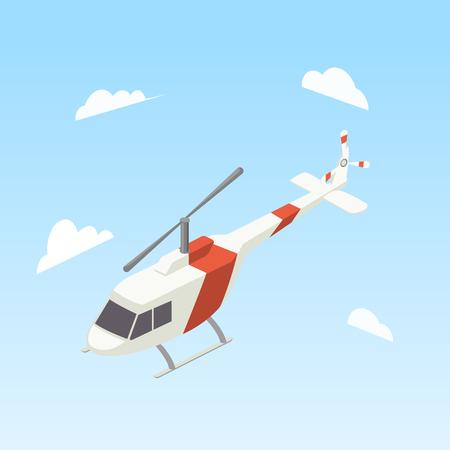 Hubschrauber weißen und roten Farben isometrischen Stil bunte Vektor-Illustration Standard-Bild - 81887667