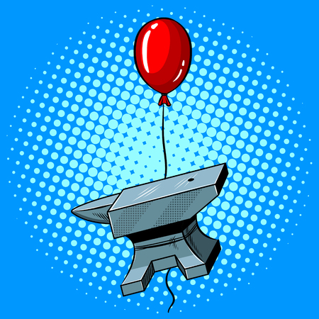 Anvil is flying on a balloon pop art hand drawn vector illustration.