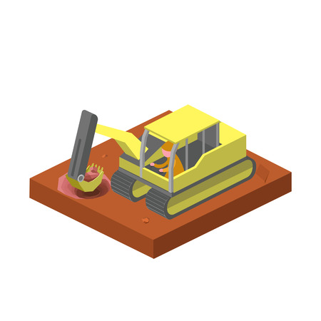 Excavator machine digging ground isometric style colorful vector illustration
