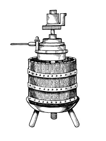Mechanical wine press vector illustration. Scratchboard style imitation hand drawn image. 向量圖像