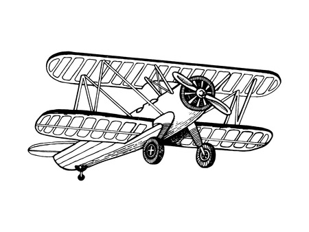 Old airplane biplane vector illustration. Scratchboard style imitation hand drawn image.
