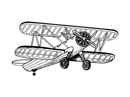 Old airplane biplane vector illustration. Scratchboard style imitation hand drawn image. Illustration