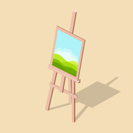 Easel with a picture isometric vector illustration