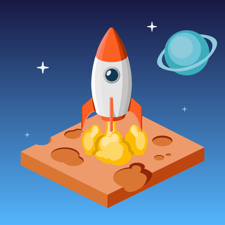 Rocket launch into space from uninhabited planet isometric style colorful vector illustration