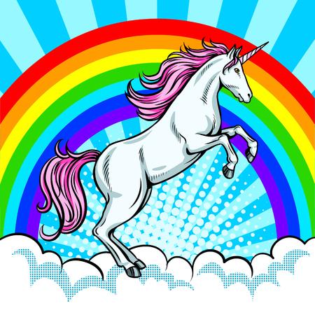 Fairy animal unicorn and rainbow pop art vector Illustration