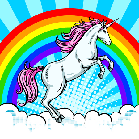 Fairy animal unicorn and rainbow pop art vector Vectores