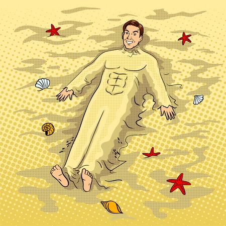 Man begraven in het zand op de strand popart vector Stock Illustratie