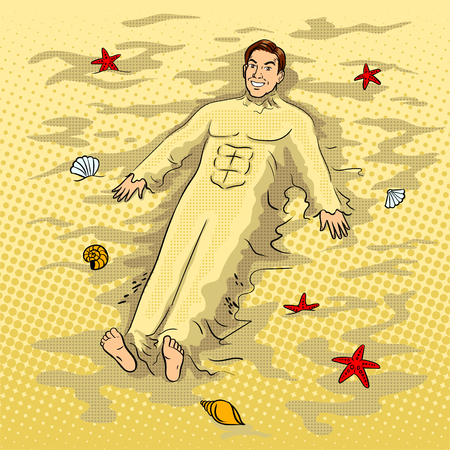 Man buried in the sand on the beach pop art vector