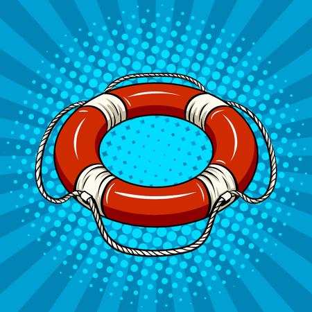 Bouée de sauvetage rouge sur le vecteur de pop art de l'eau