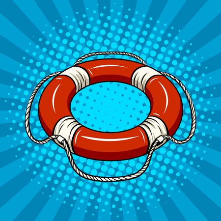 Red life buoy on the water pop art vector Фото со стока - 82187410