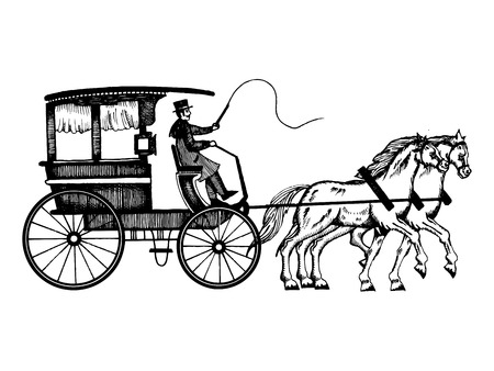Carriage with horses engraving style vector Vettoriali