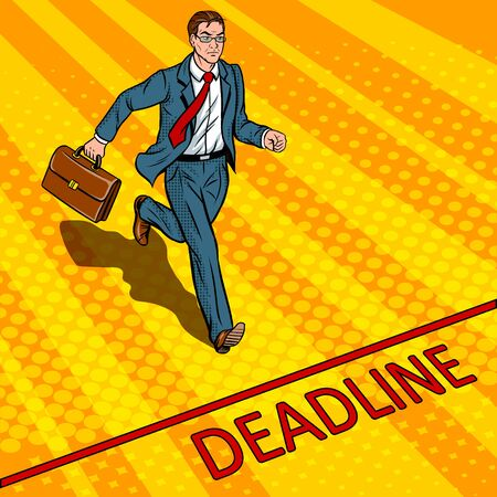 Businessman run to deadline pop art vector Reklamní fotografie - 82181709