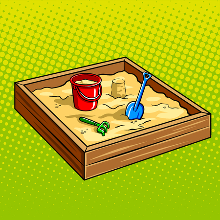 Sandpit for children pop art retro vector illustration. Sandbox with toys plastic bucket shovel and rake. Comic book style imitation.