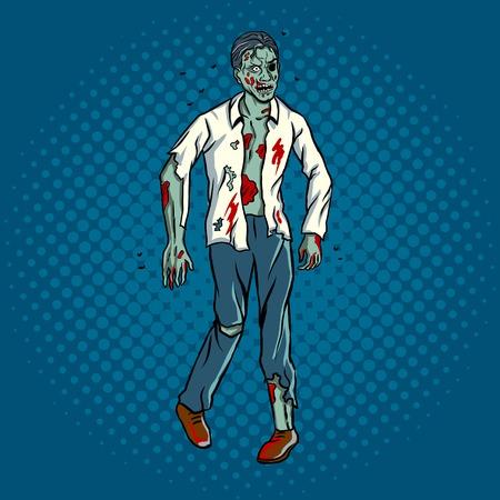 Illustration vectorielle rétro zombie pop art de marche. Imitation de style bande dessinée.