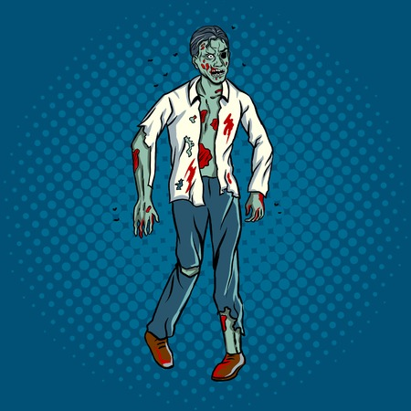 Walking zombie pop art retro vector illustration. Comic book style imitation. 矢量图像