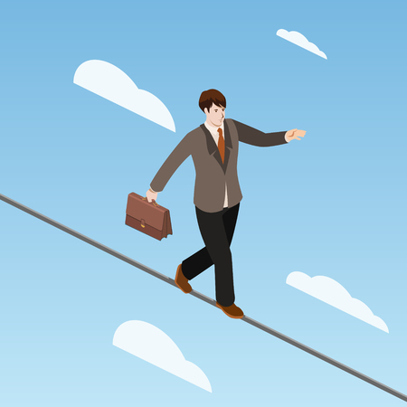 Businessman is balancing on the rope isometric vector illustration Comic book style imitation.
