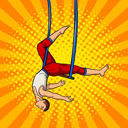 Circus acrobat on trapeze pop art retro vector illustration. Comic book style imitation.