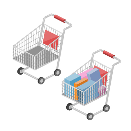 쇼핑 카트 아이소 메트릭 스타일 다채로운 벡터 일러스트 스톡 콘텐츠 - 82351076