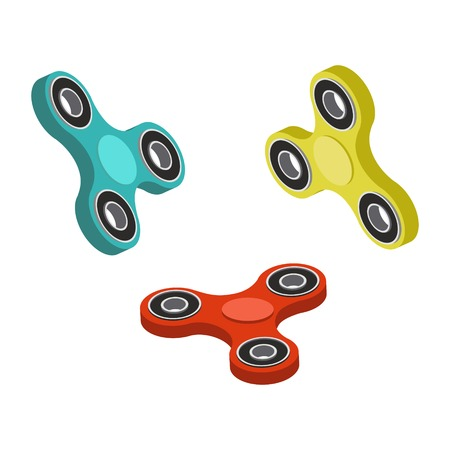 Spinner toy isometric style colorful vector illustration