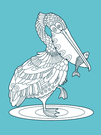 Pelican bird with fish color fashion book vector illustration. Lace pattern