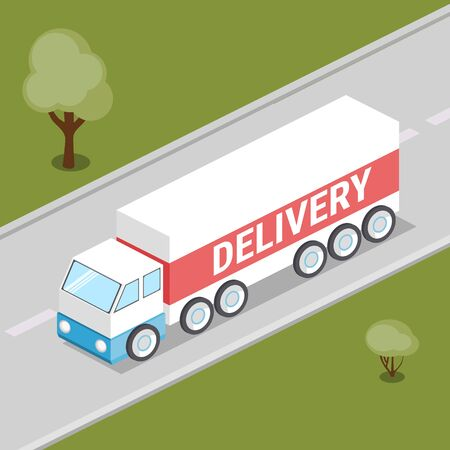 Truck delivery isometric style colorful vector illustration