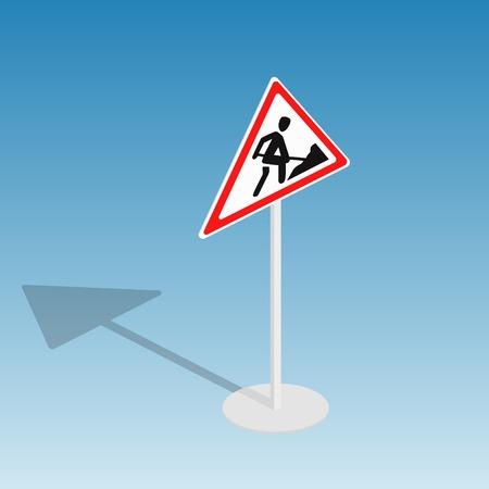 道路標識道路工事アイソメ図スタイル カラフルなベクトル図 写真素材