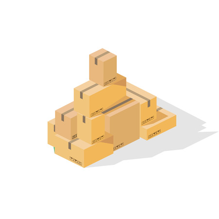 Box package tower. Isometric colorful vector illustration