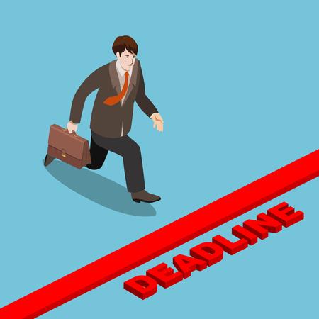 Businessman run to deadline isometric vector