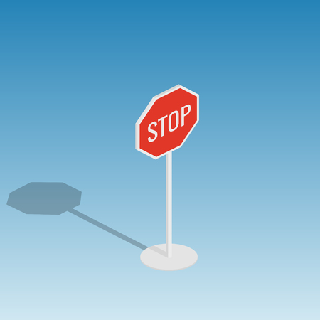 Road sign stop isometric style colorful vector illustration Illustration