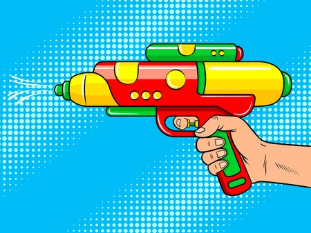 Water gun toy on hand pop art retro vector illustration. Comic book style imitation. Reklamní fotografie
