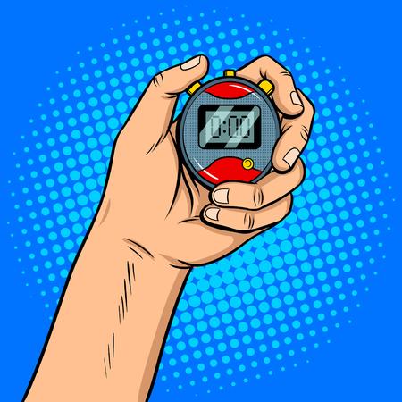 Stopwatch in hand pop art retro vector illustration. Comic book style imitation.