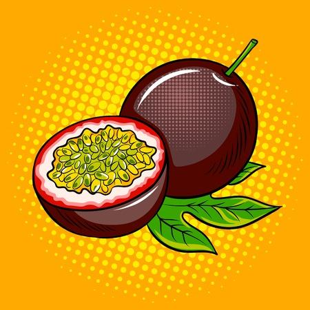 Illustration vectorielle rétro de fruit de la passion pop art. Imitation de style bande dessinée. Banque d'images - 82893607