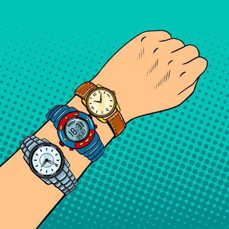 Wristwatch on hand pop art retro vector illustration. Comic book style imitation. Timezone metaphor.
