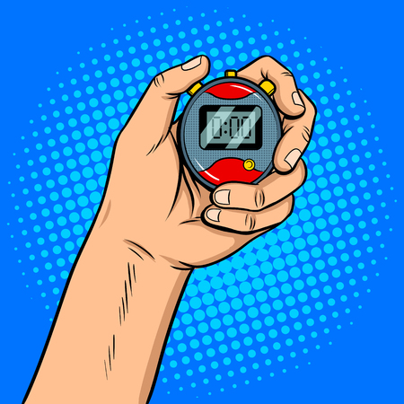 Stopwatch in hand pop art retro vector illustration. Comic book style imitation.
