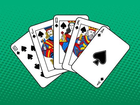 우승 카드 조합 팝 아트 스타일 벡터 일러스트 레이 션. 만화 스타일의 모방입니다. 포커 로얄 플러시