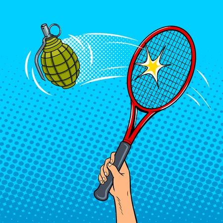 Tennis racket beats a hand grenade pop art style vector illustration. Comic book style imitation