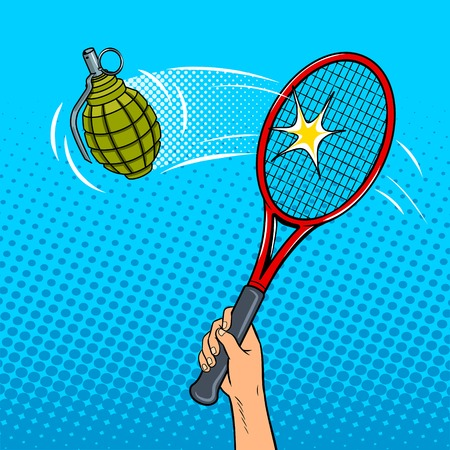 Tennis racket beats a hand grenade pop art style vector illustration. Comic book style imitation