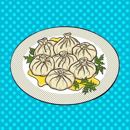 Khinkali food pop art hand drawn vector illustration. Georgian cuisine Stock Photo