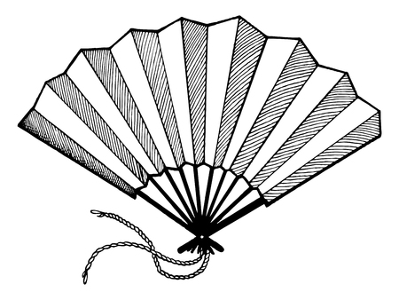 Hand fan engraving vector illustration. Scratch board style imitation. Hand drawn image.