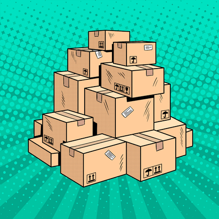 Boxes with goods pop art retro vector illustration. Comic book style imitation.