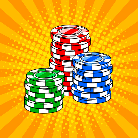 Casino token chips pop art style vector illustration. Comic book style imitation.