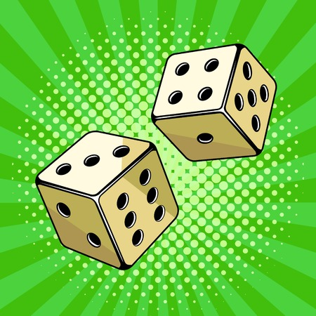 Dice game pop art style vector illustration. Comic book style imitation.