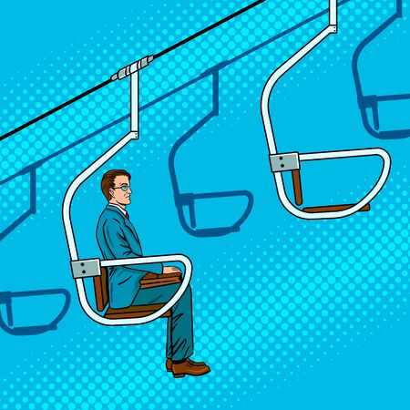 Businessman ride on ski lift pop art retro vector illustration. Comic book style imitation. Metaphor of career