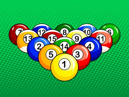 Billiard balls pop art style vector illustration. Comic book style imitation. Stock fotó