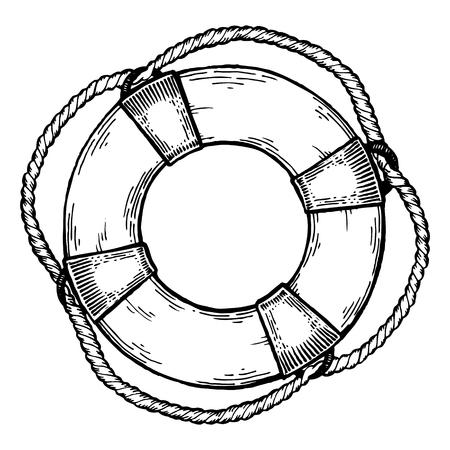 Lebenboje, die Vektorillustration graviert. Scratch-Board-Nachahmung. Hand gezeichnetes Bild. Standard-Bild - 83172492