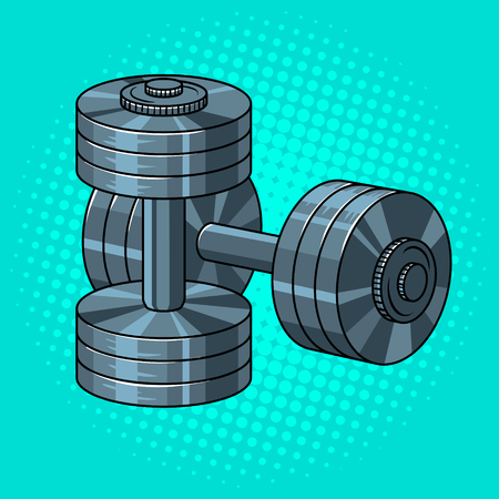 Metal dumbbells pop art retro vector illustration. Comic book style imitation. Sports equipment