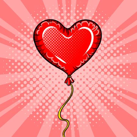 Ilustración de vector de arte pop de globo de forma de corazón Foto de archivo - 83223434