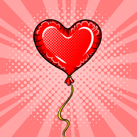 Heart shape balloon pop art vector illustration