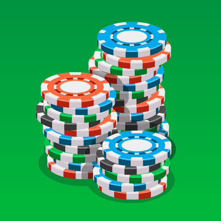 カジノのトークンの等尺性ベクトル図 写真素材